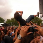 crowdsurfing during sheepdogs set