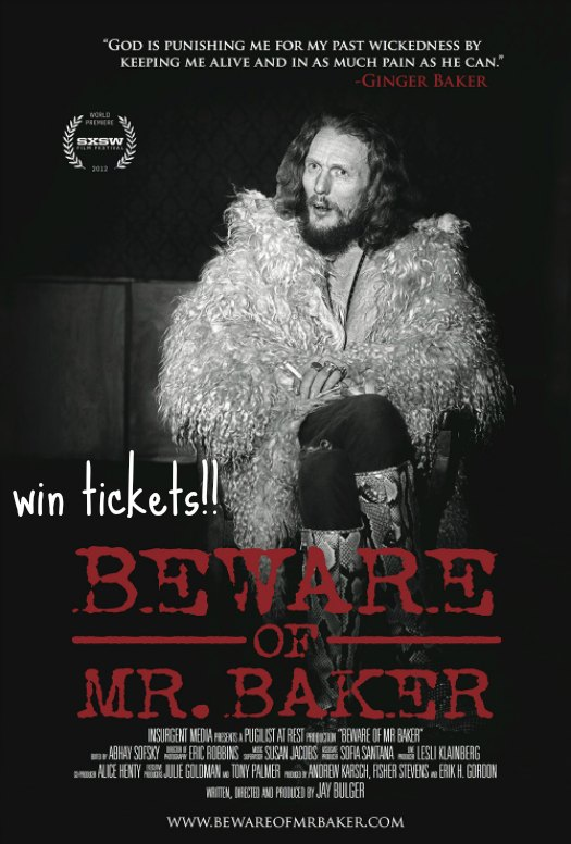 win tickets to see beware of mr baker opening night at bloor hot docs cinema in toronto ginger baker creem best drummer of all time