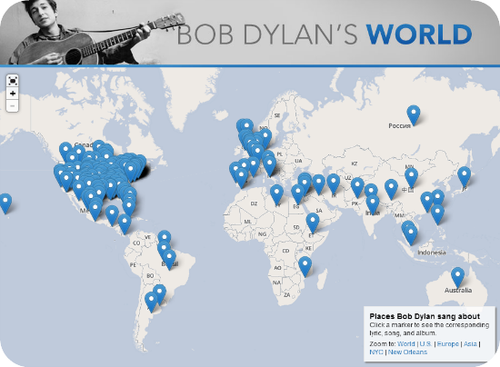 bob dylan interactive lyric map location places he mentioned in song slate magazine map click for more information