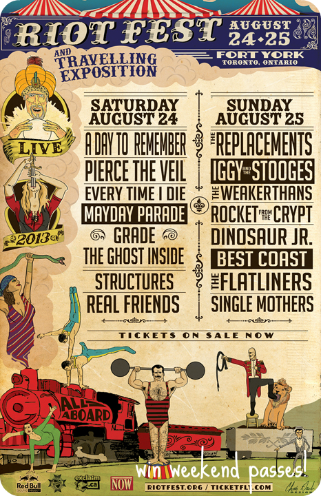 Riot Fest Toronto Lineup giveaway win tickets free iggy pop replacements reunion jesse and the rippers the weakerthans best coast dinosaur jr single mothers iggy pop iggy and the stooges win tickets win weekend passes travelling exposition august 24 25 fort york