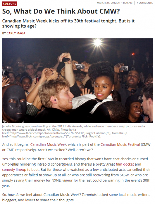 So  What Do We Think About CMW    culture   Torontoist